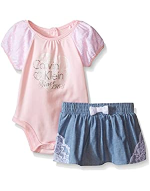 Baby Girls' Pink Bodysuit with Blue Chambray Skirt with Lace