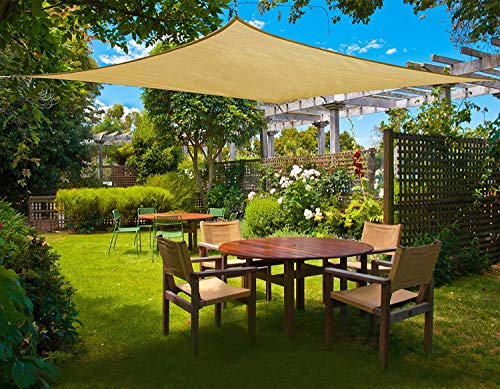 Cool Area 16 5 x 16 5 Square Sun Shade Sail for Patio Garden Outdoor, UV Block Canopy Awning, Sand