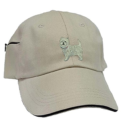 Westie Low Profile Baseball Cap with Zippered Pocket. (Westie Hat)