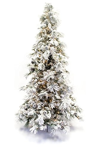 7.5' Flocked Pine Long Needle Prelit Artificial Christmas Tree - Amazon.com: 7.5' Flocked Pine Long Needle Prelit Artificial