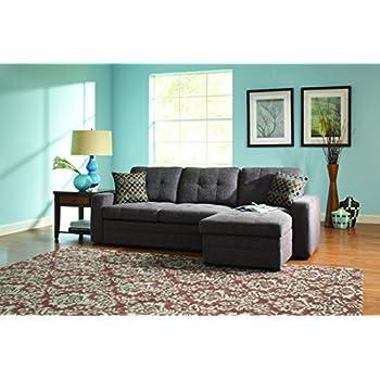 Amazon Com Black Brown Clubber Sleeper Sectional Sofa