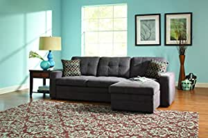 Coaster Home Furnishings 501677 Casual Sectional Sofa, Dark Grey
