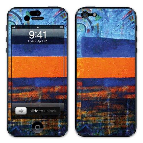 Diabloskinz B0081-0004-0017 Vinyl Skin für Apple iPhone 5/5S Art/Oil Painting blau/orange