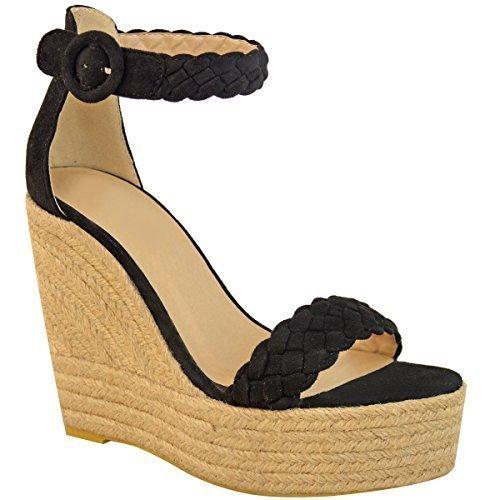 Da donna blu New Sandalo Scarpa ESPERDRILLE ZEPPA TACCHI ALTI del Regno Unito taglia 3