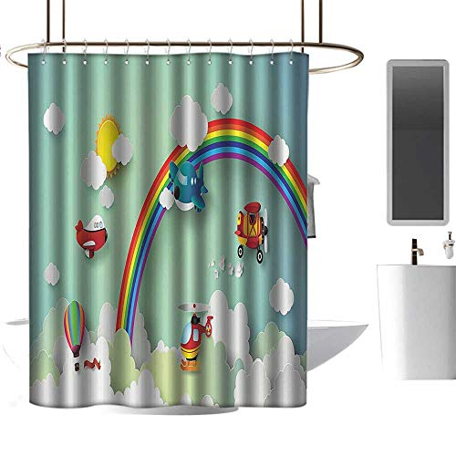 Brandosn Shower Curtains 3D Digital Printing Children,Plane Hot Air Balloon Helicopter Flying on Rainbow Sunny Sky Happy Baby Illustration,Multi Free Punching in The Bathroom W48 xH84 inch (Batman Punching Balloon)