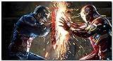 Picture Sensations Framed Canvas Art Print, Captain America Civil War Vs Iron Man - 36''x20''