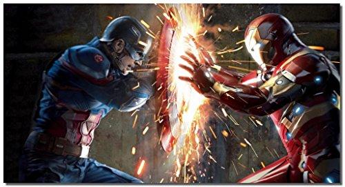 Picture Sensations Framed Canvas Art Print, Captain America Civil War Vs Iron Man - 36