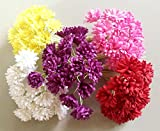 ICRAFY 100 pcs. Assorted Tiny Daisy Mulberry Paper Flower White Rope Wire Artificial Craft Scrapbook Wedding Supply Accessory DIY, Assorted Color, Size 1.0 cm.