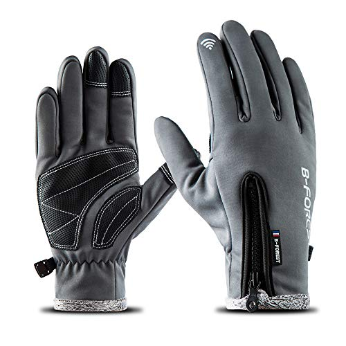 Andyshi Gloves Men Women Winter Outdoor Sports Anti-Slip Windproof Waterproof Touch Screen Cycling Riding Skiing Running Driving Thicken Warm Fleece Lined Full Finger Elastic Zipper Glove