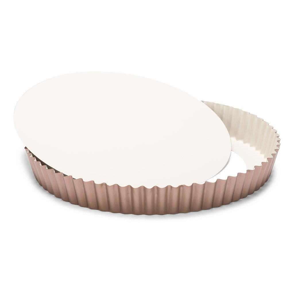 Patisse 03379 Ceramic Round Quiche pan with Removable Bottom with Non-Stick Surface, Cream/Copper by patisse