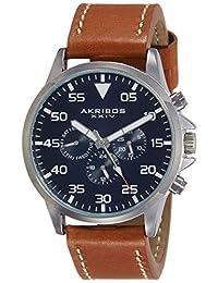 Akribos XXIV Men's AK773SSBU Analog Display Swiss Quartz Brown Watch