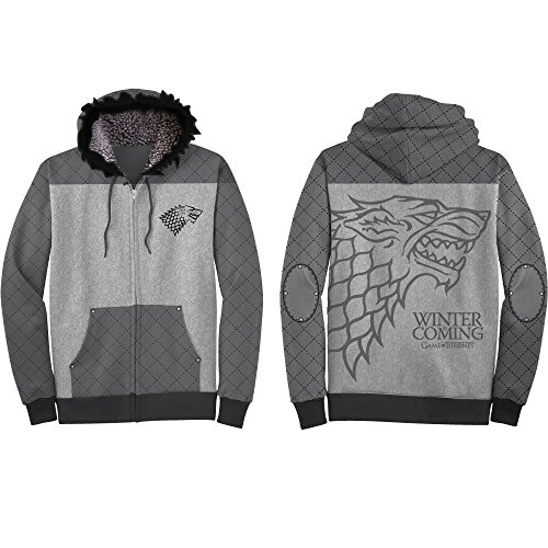 HBO'S Game of Thrones Men's Got Winter Is Coming Costume Hoodie, Gray, Large