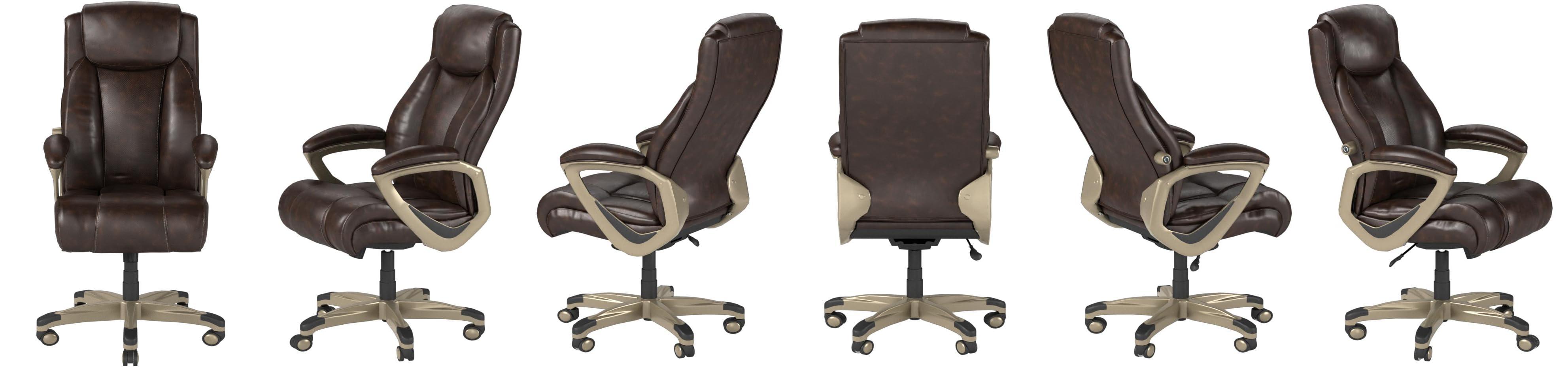 Amazon Basics Big Tall Executive Computer Desk Chair Brown With Pewter Finish Furniture Decor Amazon Com
