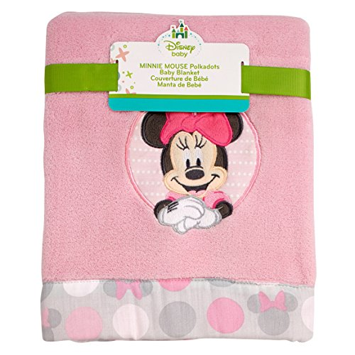 Disney Minnie Mouse Polka Dots Super Soft Appliqued Baby Blanket, Light Pink/White/Grey