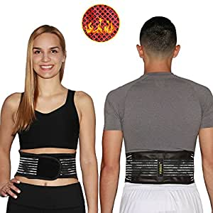 Firbee Self-Heating, Tourmaline, Magnetic Therapy Belt for Pain Relief and Lumbar Support | Lower Back Brace and Waist Trimmer | Bonus Drawstring Backpack (Small)