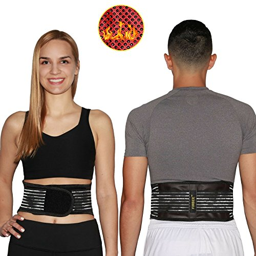 Firbee Self-Heating, Tourmaline, Magnetic Therapy Belt for Pain Relief and Lumbar Support | Lower Back Brace and Waist Trimmer | Bonus Drawstring Backpack (Small) (Backpack Lumbar)