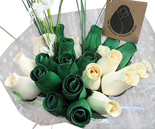 St. Patrick's Day Green and White Flower Bouquet The Original Wooden Rose Closed Bud Roses (2 Dozen) - St Pats Decorations