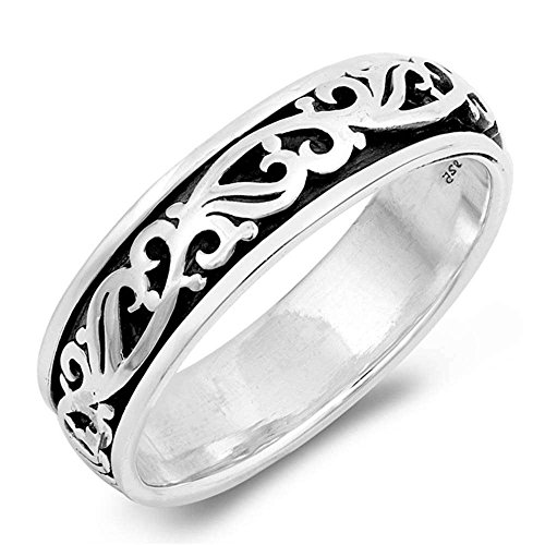 - Sterling Silver Plain Filigree Spinner Design Band Ring Sizes 10