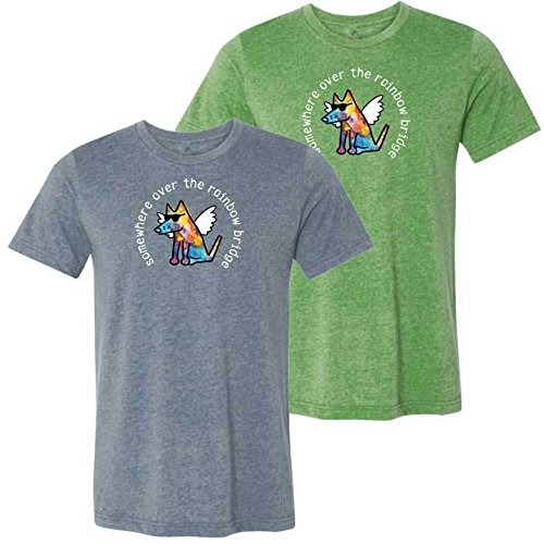 (Teddy the Dog Somewhere Over The Rainbow Bridge - Lightweight T-Shirt (Medium, Heather Apple))