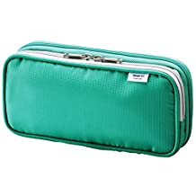 "LIHIT LAB Double Pen Case, L size, Green, 4.1 x 8.7"" (A-7661-7)"