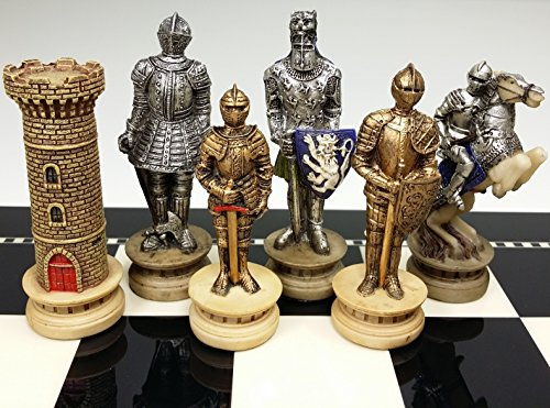 Gold Chess (Medieval Times Crusades Gold and Silver Armored Warrior Knight Chess Men Set - NO)