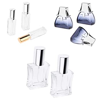 56e8f9ad9a11 Amazon.com : Flameer Clear Empty Refillable Travel Frost Glass Spray ...