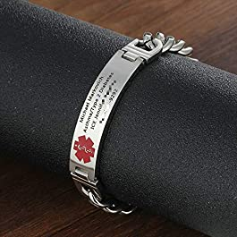 7.5 to 8.5 Inches Free Engrave Emergency Medical Bracelets for Men Women Alert ID Bracelets for Adults Titanium Steel Medical Alert Bracelets for Women