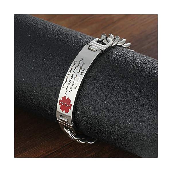 Grand Made 8,5 pulgadas gratis pulsera de grabado de emergencia médica para hombres ID Wrap for Adult Awake Bracelet Titanium Steel Medical Medical pulsera para mujeres 6