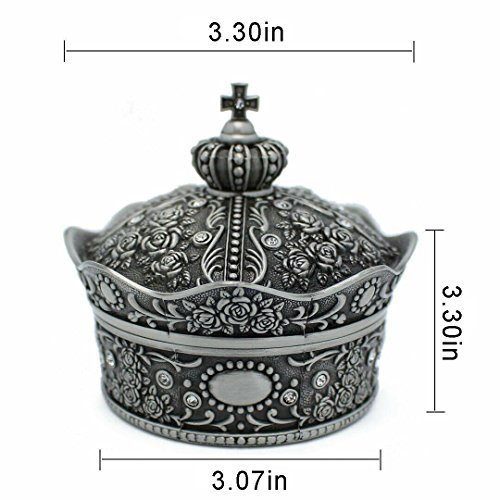 mossty Cute Metal Crown Jewellery Box Antique European Style Treasure Box Princess Makeup Organizer with Flower Carved Big Size by mossty (Image #1)