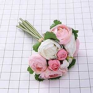 BESTOYARD 10pcs Artificial Flowers Camellia Bridal Wedding Bouquet Bridesmaid Bride Toss Bouquet Home Decoration (Pink & White) 3