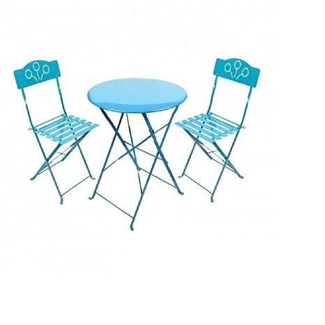 Set Mesa + 2 sillas metal turquesa - Conjunto 1 Mesa 60 x 70 ...