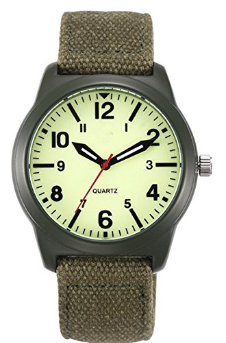 Vavna Lucky Fashion Unisex Canvas Strap Swiss Army Quartz Crime Army Watch Military Sport Wrist Watches - Luminous Green (Watch Quartz Army Wrist Swiss)