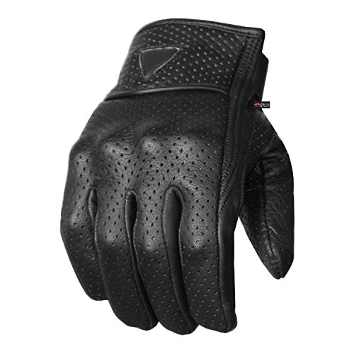 Premium Men's Motorcycle Leather Perforated Cruiser Protective Gel Gloves (Bike Motorcycle Jacket)