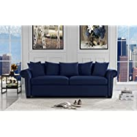 Classic Scroll Arm Velvet Living Room Sofa with Nailhead Trim (Navy Blue)