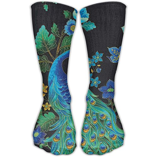 Fashion Peacock Tail Animal Crew Socks Athletic Compression Socks For Girls
