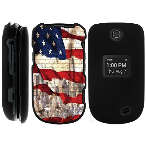 MINITURTLE Case Compatible w/ Miniturtle [LG Revere 3 Black Case][Snap Shell] 2 Piece Snap On Design Case, Perfect Fit Hard Protector Cover New York USA Flag