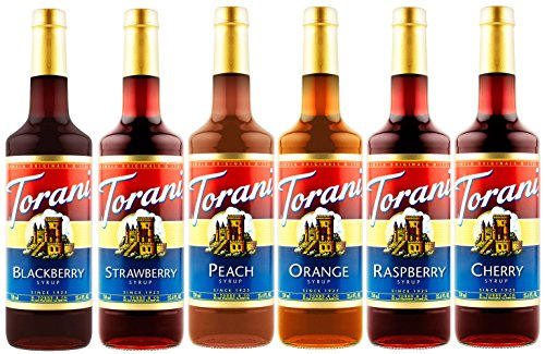 Torani Syrup Fruit Bowl 6 Pack, Raspberry, Strawberry, Blackberry, Cherry, Orange and Peach (Best Lemonade In Los Angeles)