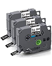 Unismar Compatible Label Tape Replacement for Brother TZe-315 Tze-325 Tze-335 for PT-D200 PT-D210 PT-D600 PT-D400 PT-H100 PT-H110 PT-1280 Label Maker, 6/9/12mm x 8m, White on Black, 3-Pack