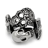 WOWJEW Retro Jewelry 316L Titanium Stainless Steel Rings Gothic Style Vintage Double Skull Ring