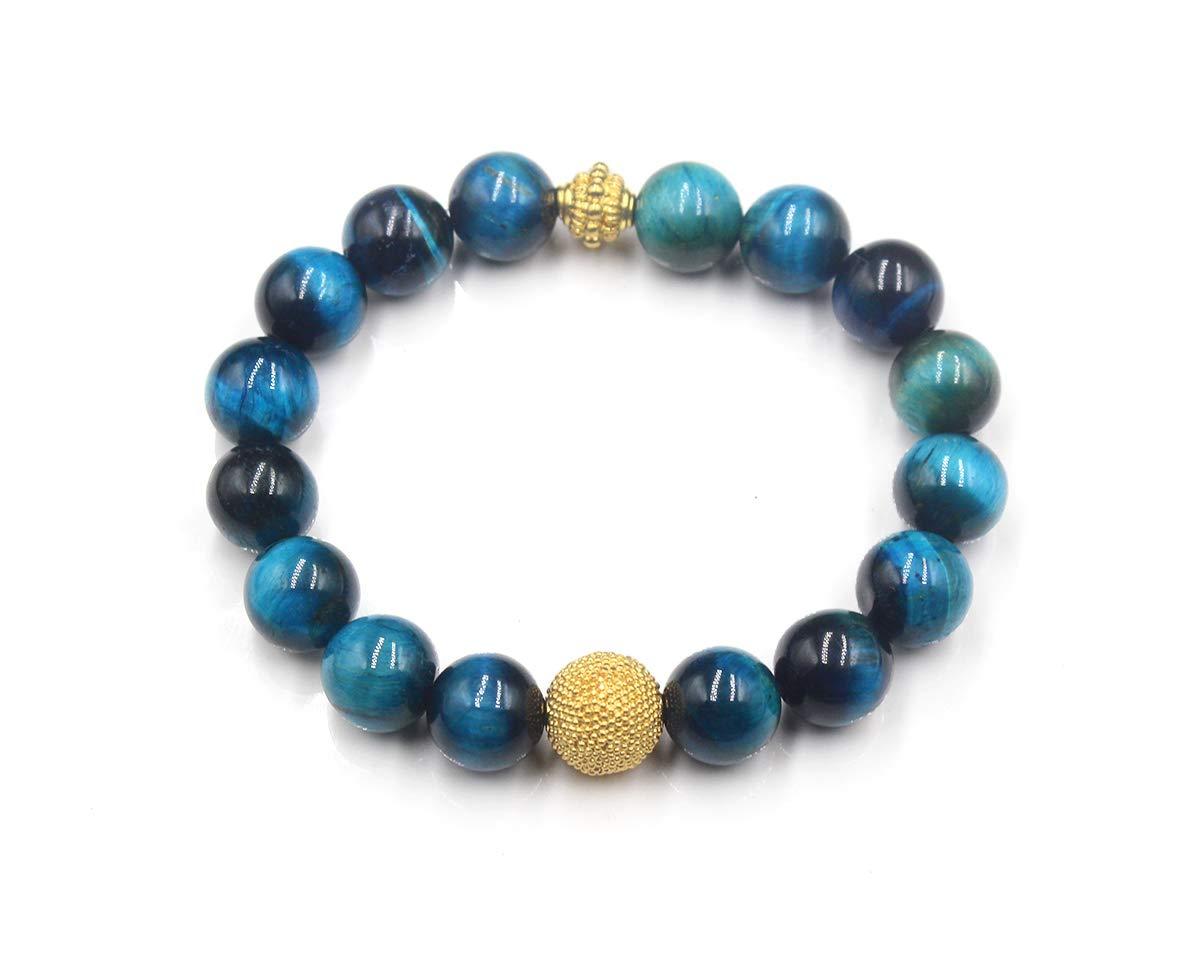 Luxury Beads Bracelet Ladies Bead Bracelet Teal Blue Tigers Eye and Gold Vermeil Bracelet