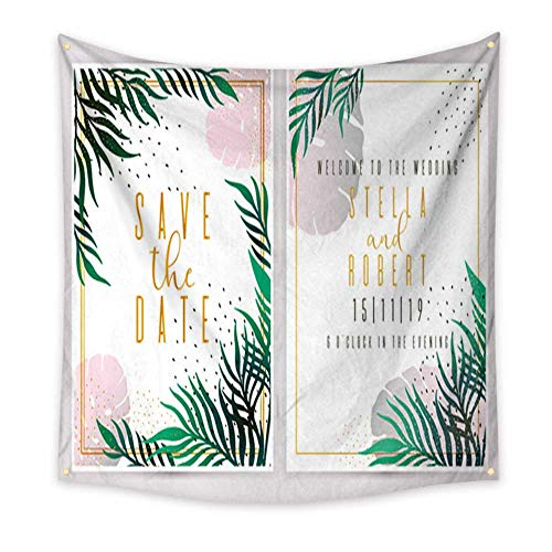 tapestry bedding Wedding Invitation floral invite thank you rsvp modern card Design green tropical palm leaf greenery branches decorative wreath fr Living Room Bedroom Dorm Decor in 47W x 47L Inch