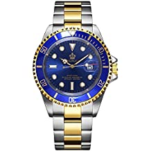 Rotatable Bezel Stainless Steel Quartz Waterproof Calendar Luminous Men Watches Silver Gold Blue