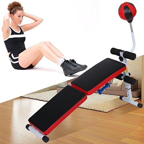 Workout Bench Adjustable Weight Bench Lifting Gym Home Fitness Bench with Speed Ball Dumbbell by Etuoji