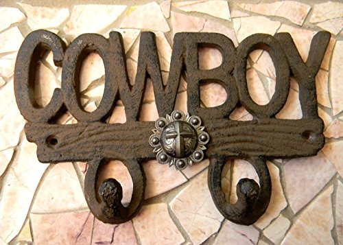 Cowboy Cross Cast Iron Wall Hook, Western Boys Room Decor, Custom Christian Baptism - Rider Bath Western Towel
