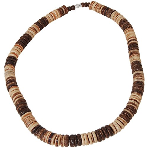 Tribal Hollywood Mai Tai Brown Coconut Shell Discs Hawaiian Mens Bead Choker -