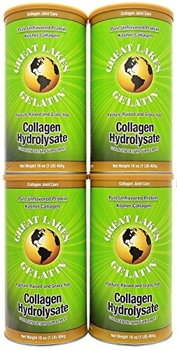Great Lakes Gelatin, Gelatin Collagen (Green), 1 Lb (Pack of 4