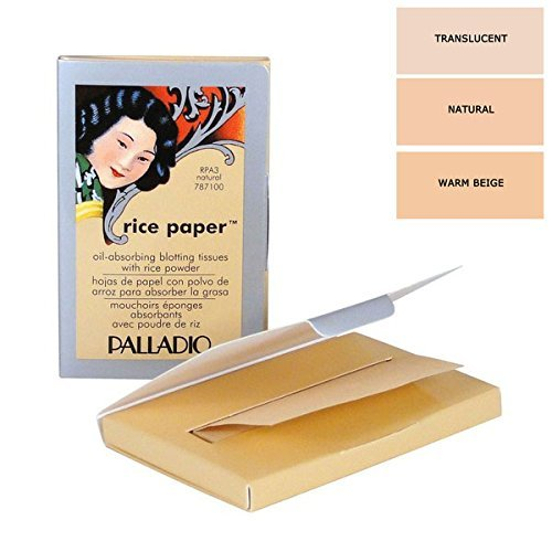 Rice Blots Oil Paper Blotting - Palladio Beauty Rice Paper Set of 3 (Translucent, Natural, Warm Beige)