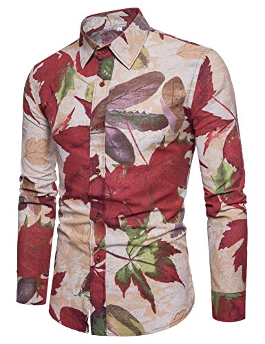 (LEFTGU Men's Printed Linen Slim Fit Long Sleeve Button-Down Shirts Multicolored Red Yellow White Khaki (X-Large Chest: 47.3 inch,)