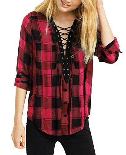 Yidarton Women Long Sleeve Plaid Shirt V Neck Casual Loose Pocket Button Down Shirts(rd+m)