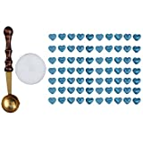 WinnerEco 1 Set Sealing Wax Beads Heart Shaped with Melting Spoon Candle Pack Blue
